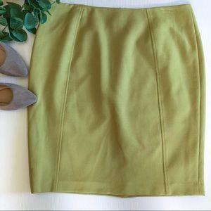 Halogen Pencil Skirt 14 Seamed Career Olive Green